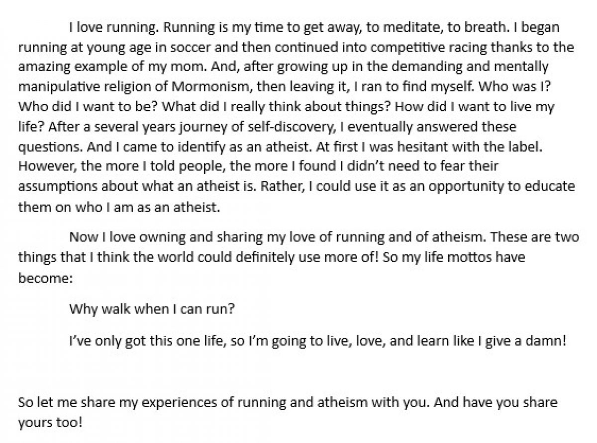 Running to Atheism